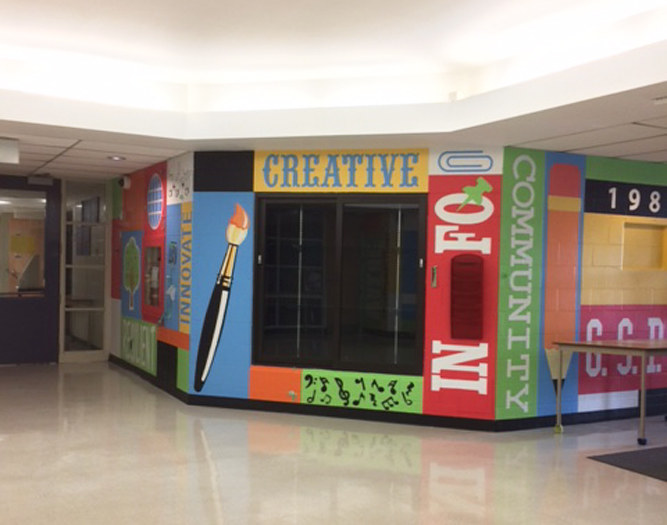 Painting Glen Shields P.S. foyer mural  by Cindy Scaife