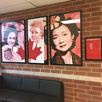 Acrylic painting Adrienne Clarkson P. S. - Student Mural - Portrait of Adrienne Clarkson installed on site by Cindy Scaife