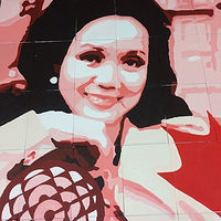 Acrylic painting Adrienne Clarkson P. S. - Student Mural - Portrait of Adrienne Clarkson by Cindy Scaife