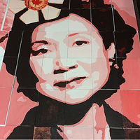 Acrylic painting FullSizeRender-2Adrienne Clarkson P. S. - Student Mural - Portrait of Adrienne Clarkson by Cindy Scaife