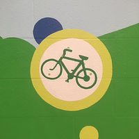 "Painting Adrienne Clarkson P.S. - Eco Mural ""Soyez Vert"" - Detail - Bike to School by Cindy Scaife"