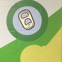 "Painting Adrienne Clarkson P.S. - Eco Mural ""Soyez Vert"" - Detail - Collect Pull Tabs by Cindy Scaife"