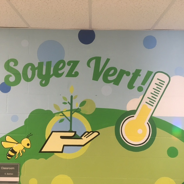 "Painting Adrienne Clarkson P.S. - Eco Mural ""Soyez Vert"" by Cindy Scaife"