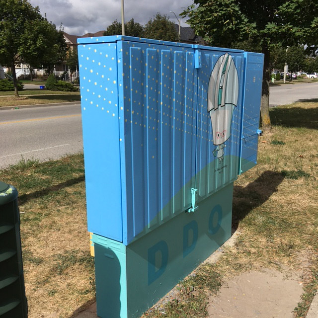 Painting Bell Box Public Mural Project 2 by Cindy Scaife