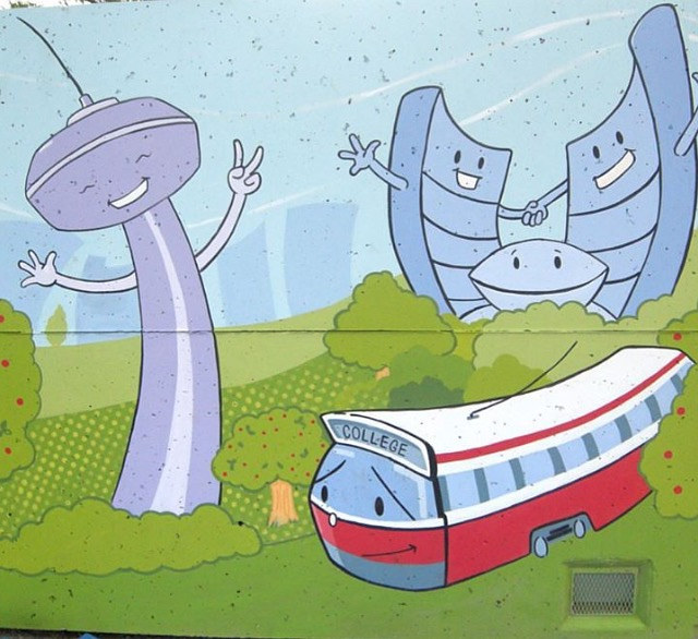 Painting Brock Early Learning Centre - Storage Unit Mural - Side 2 by Cindy Scaife