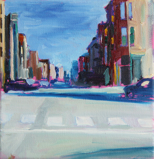 Oil painting lincoln intersection  by Madeline Shea