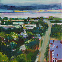 Oil painting the view at dawn by Madeline Shea