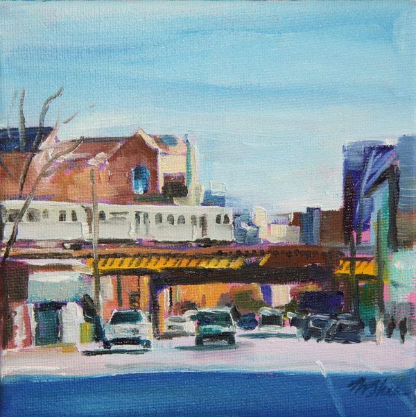 Oil painting the L at wrightwood  by Madeline Shea