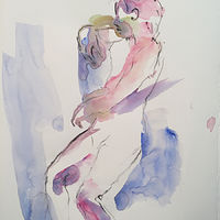Watercolor moving nude by Madeline Shea