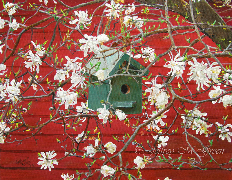 """Birdhouse and Blossoms"", 11"" x 14"", oils on canvass. by Jeffrey Green"