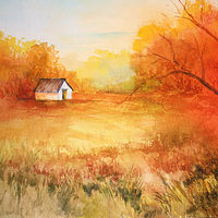 Drawing Autumn Colors Landscape by Barbara Haviland