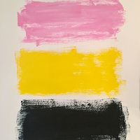 Acrylic painting Color Study: Blue, Yellow, Pink by Sarah Trundle