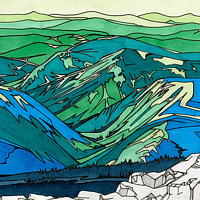 Drawing Parc National de la Gaspésie, Quebec by Claire Cepukas