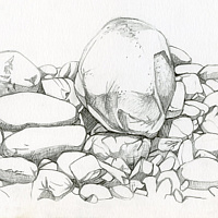 Drawing Lawrencetown Beach Provincial Park, Nova Scotia by Claire Cepukas