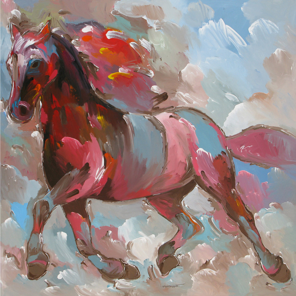 Fiery Runner, 36x36 inches, acrylic on canvas by Hooshang Khorasani