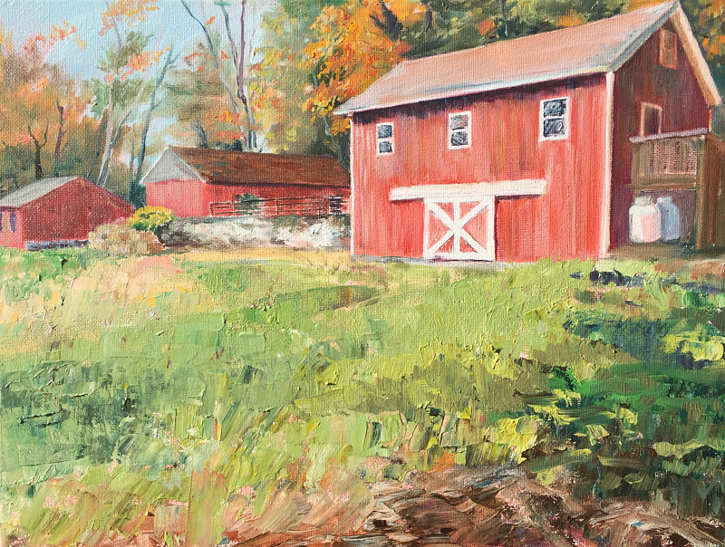 Oil painting Tarrywile Barns by Betty Ann  Medeiros