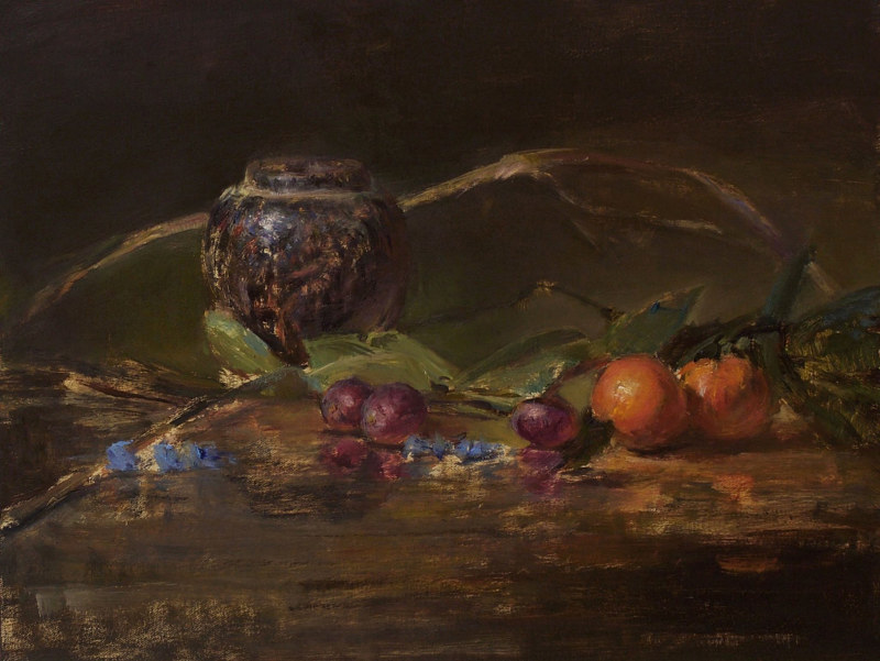 Oil painting Orange and Grapes by Julie Gladstone
