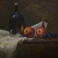 Oil painting Peaches and Cloth by Julie Gladstone