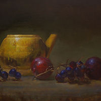 Oil painting Plums by Julie Gladstone