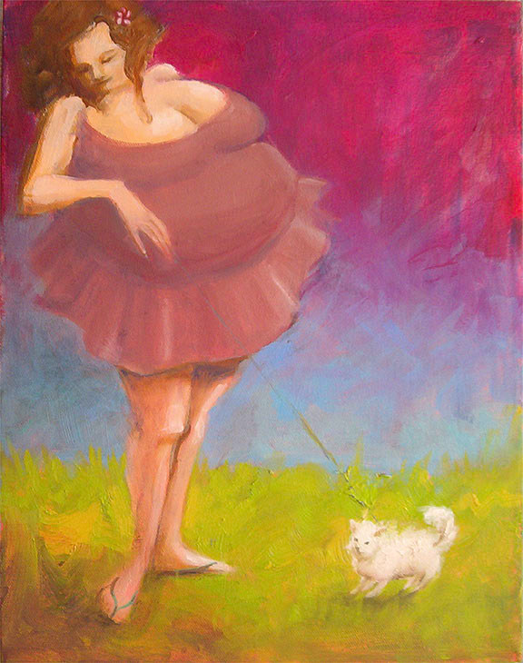Tutu and Tinkerbell 20x16 by Pamela Neswald