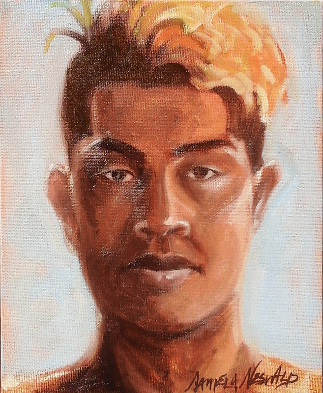 Oil painting Custom portrait 6x8 (Sample Higginio) by Pamela Neswald