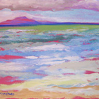 Oil painting Lana'i from Grandma's Surf Spot by Pamela Neswald