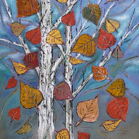Oil painting Aspens - the road home by Ruby Lindner