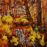 Autumn Reflection I   Acrylic 24x24 2017 - Copy by Brian  Buckrell