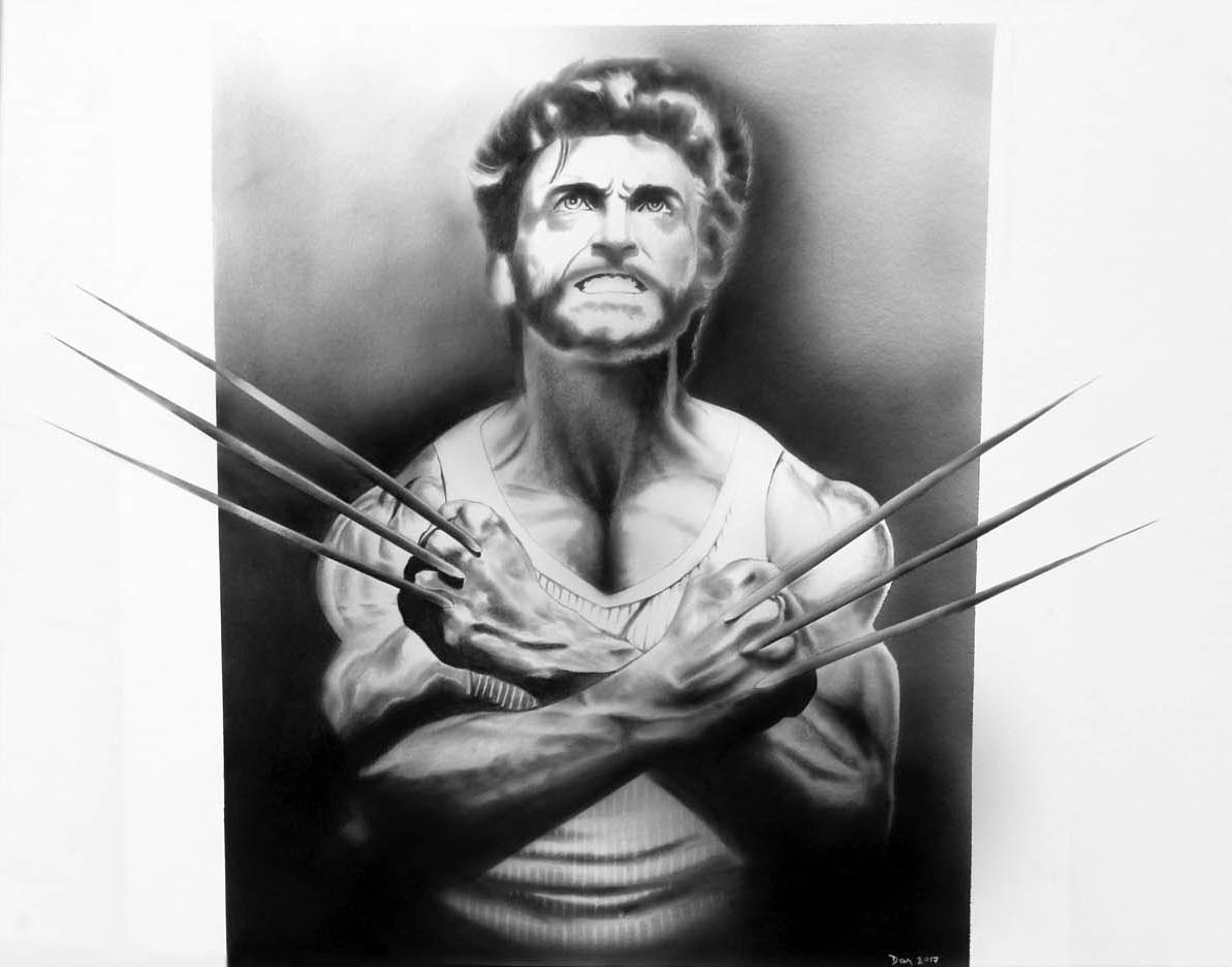 Mixed-media artwork Wolverine by Darren Hurst