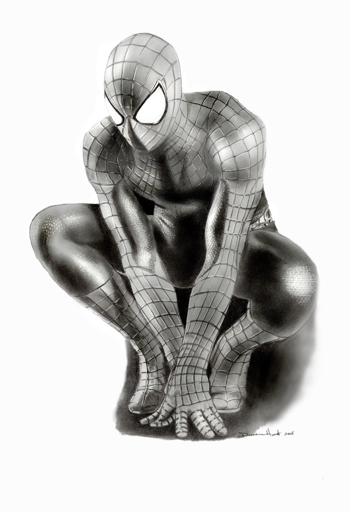Drawing Spiderman by Darren Hurst