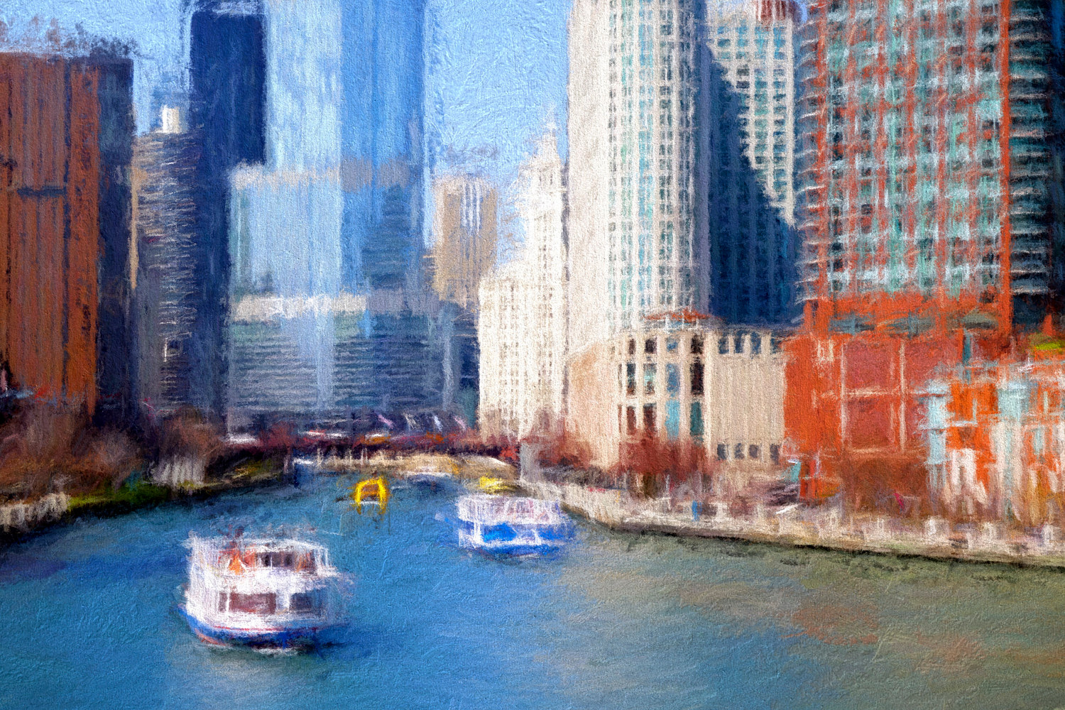 Print Chicago River - A Chicago Impression by Edward Bock