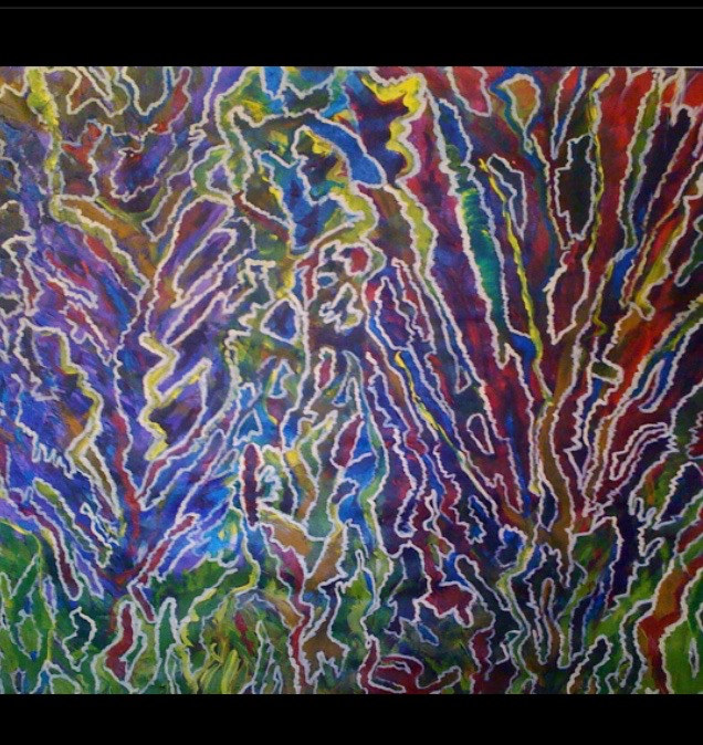 Acrylic painting STAINED GLASS FOREST    ****2012*** by Irene Lisny