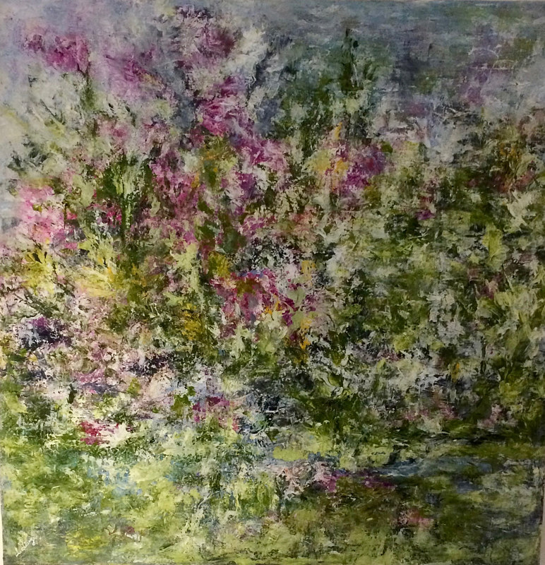 Acrylic painting BY THE STREAM     ***2017*** by Irene Lisny
