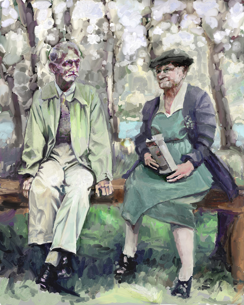 Painting Gus and Lena of Dansville NY by Bernard Dick