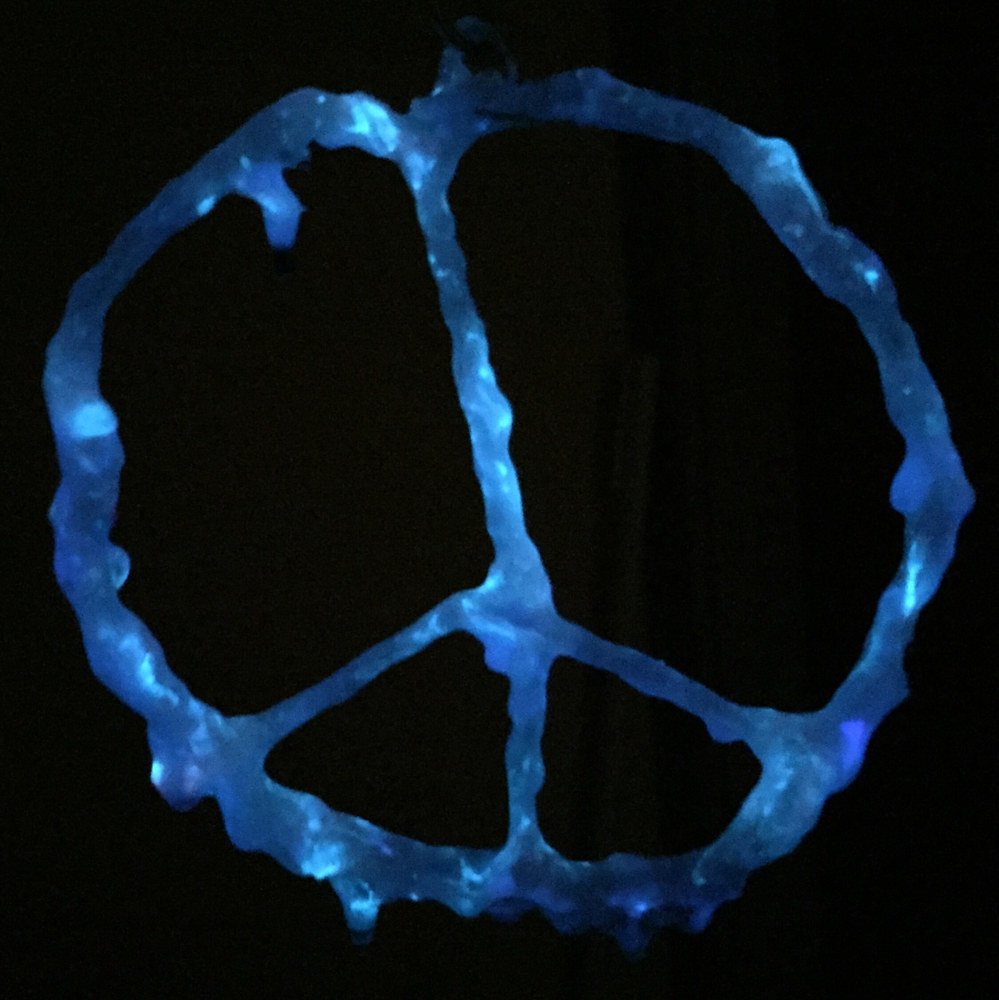 Fiberglass Peace Sign (night view) by Steven Simmons