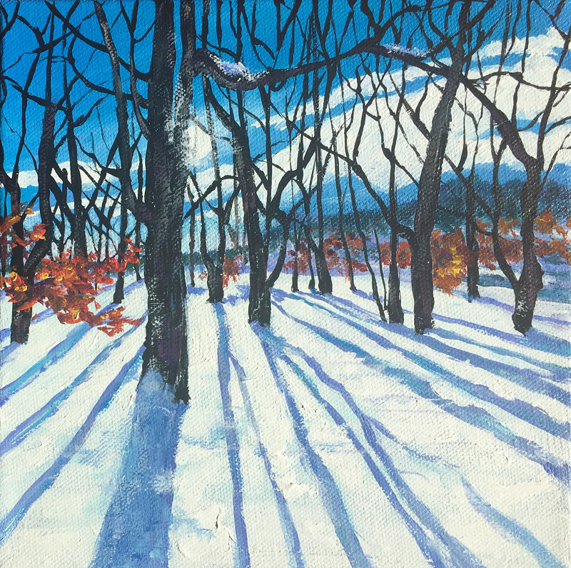 Acrylic painting First Snowfall by Betty Ann  Medeiros