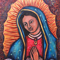 Acrylic painting Our Lady of Giving and Receiving by Emily K. Grieves
