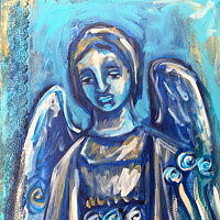 Acrylic painting The Angel of Witnessing by Emily K. Grieves