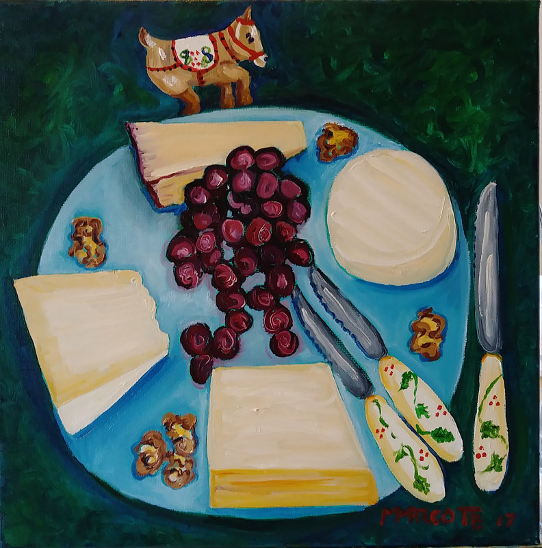 Oil painting Carol's cheese plate for a family brunch. And a ceramic donkey. No relation. by Michelle Marcotte