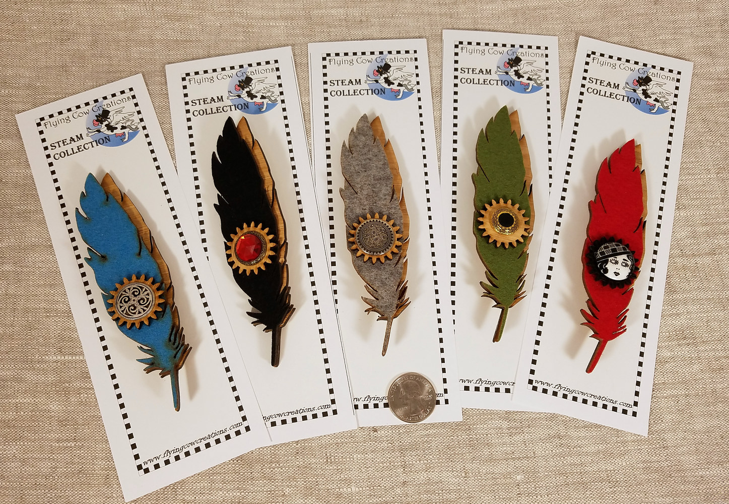 feather pins by Valerie Johnson