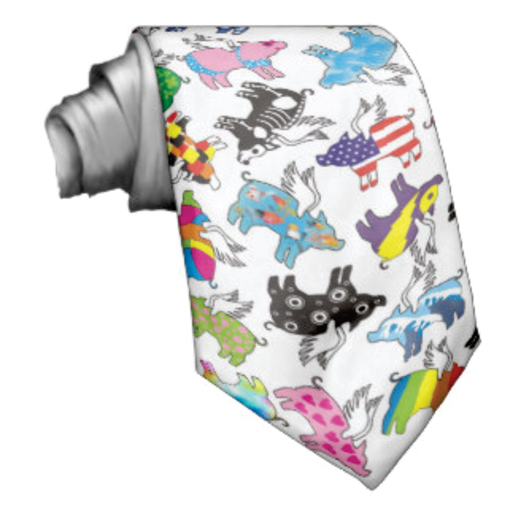 flying pig tie by Valerie Johnson