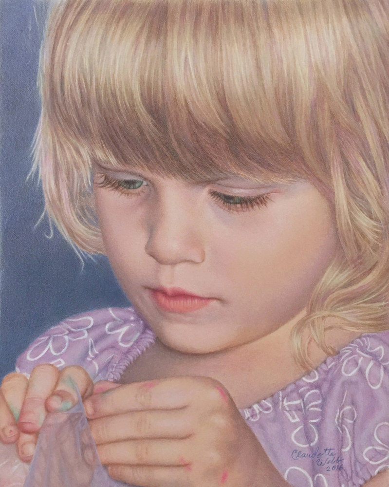 Drawing a tiny artist by Claudette Webb