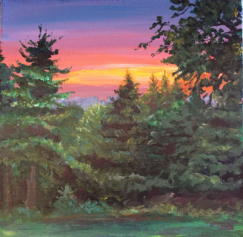 Acrylic painting Sunrise over the Ridge by Betty Ann  Medeiros