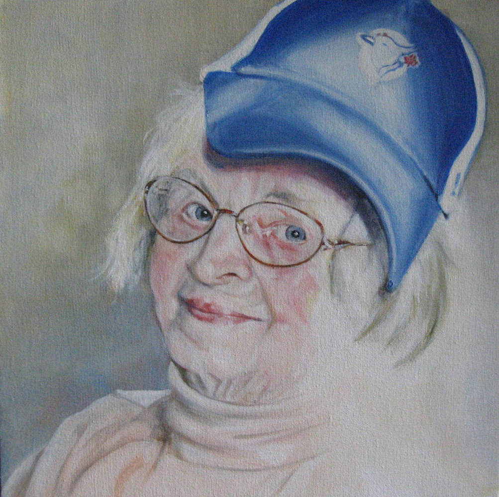 Oil painting The baseball fan...Mom. by Judith  Elsasser