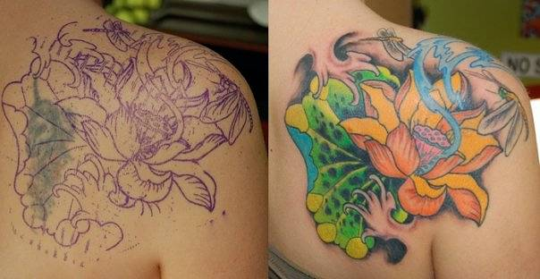 Lotus And Dragonfly Cover Up Tattoo Narrow Waters Tattoo Kelowna Bc