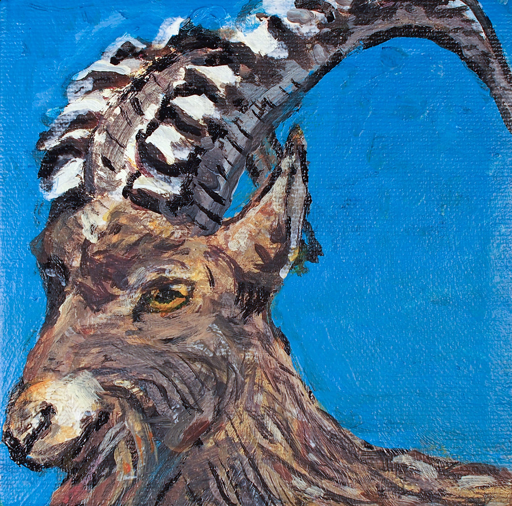 "Acrylic painting Determination, 5 x 5"", 2009-17 by Dennis Worrel"