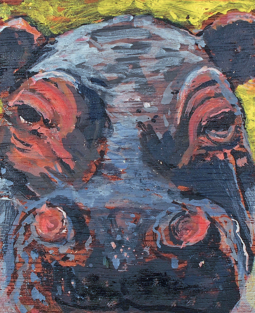 "Acrylic painting Hippo Smile, 5 x 4"", 2017 by Dennis Worrel"