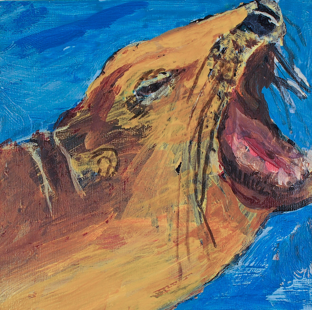 "Acrylic painting Yawn, 4 x 4"", 2009-17 by Dennis Worrel"