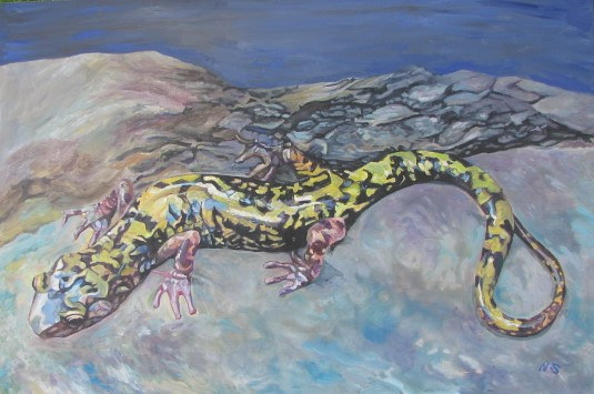 Painting Green Salamander  by Nancy Sharp