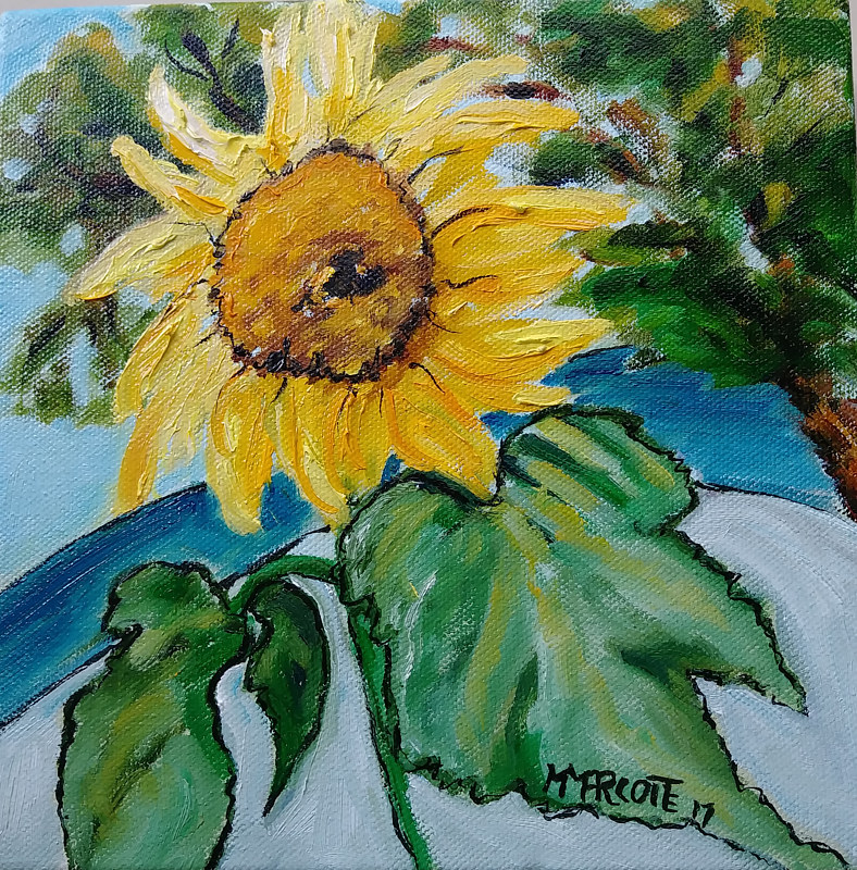Oil painting Sunflower  by Michelle Marcotte